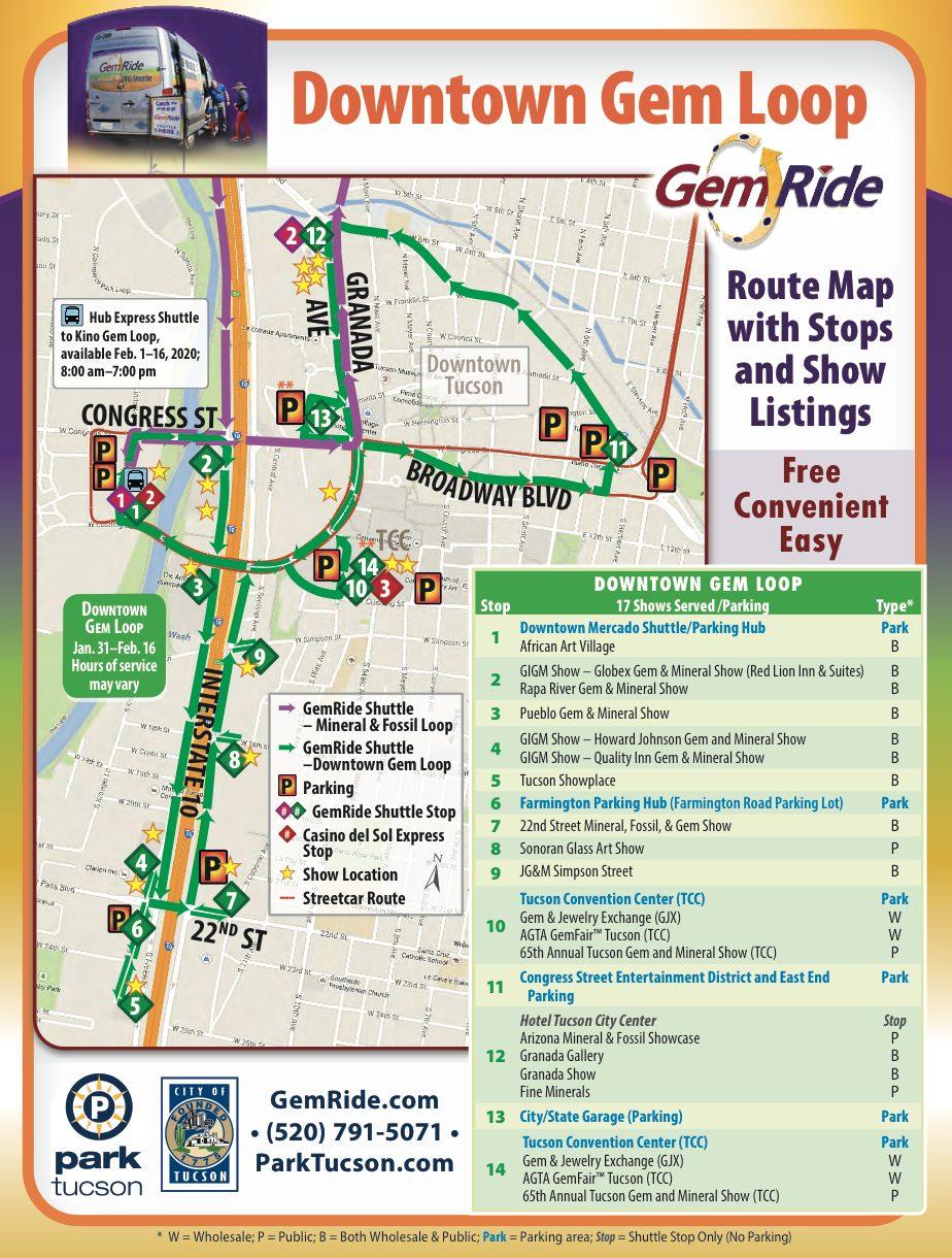 Downtown Gem Loop Shuttle Map