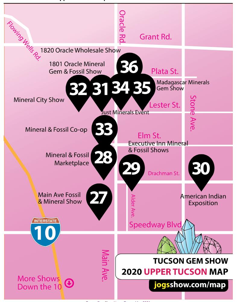 Map Upper Tucson | Tucson Gem Show 101