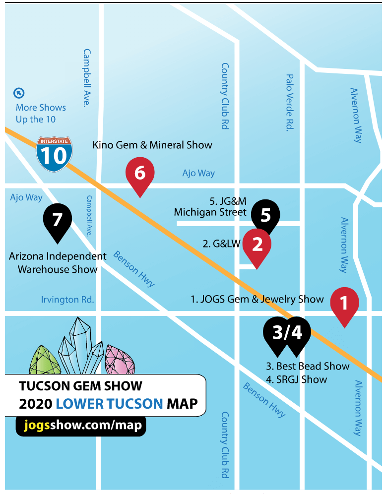 Map Lower Tucson | Tucson Gem Show 101