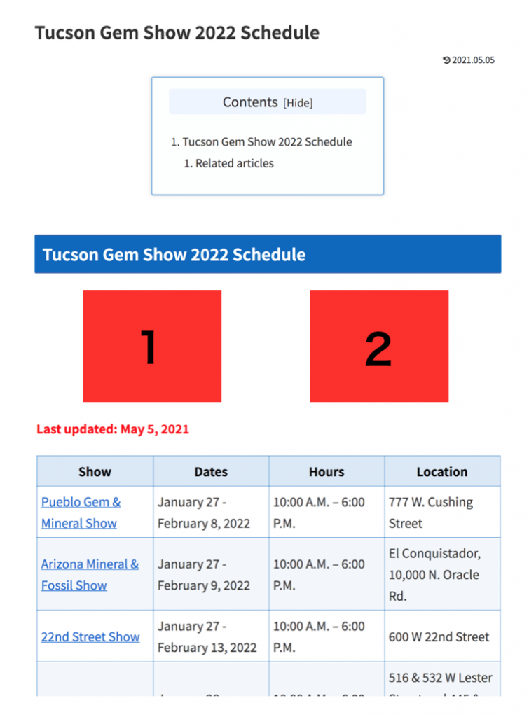 Schedule page banners